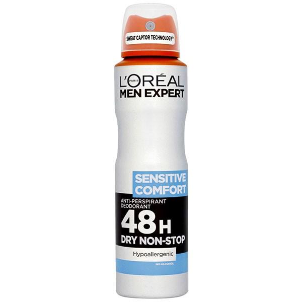 اسپری ضد تعریق مردانه لورآل سری Men Expert مدل Sensitive Comfort 48H حجم 150 میلی لیتر