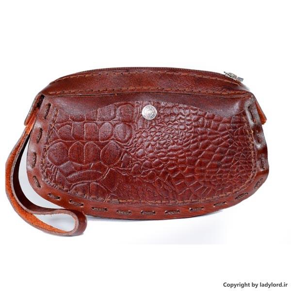 کیف دست دوز چرم طرح زنانه