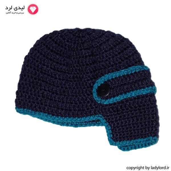کلاه بافتنی نوزاد پسر مناسب 1 تا 1.5 سال رنگ سرمه ای-آبی