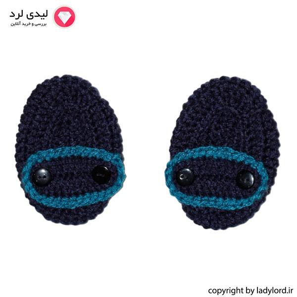 پاپوش بافتنی نوزاد پسرانه مناسب 1 تا 1.5 سال رنگ سرمه ای-آبی