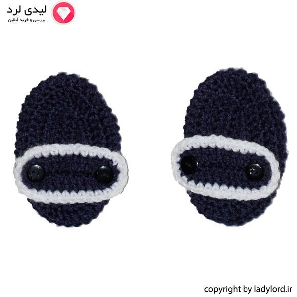 پاپوش بافتنی نوزاد پسرانه مناسب 1 تا 1.5 سال رنگ سرمه ای-سفید