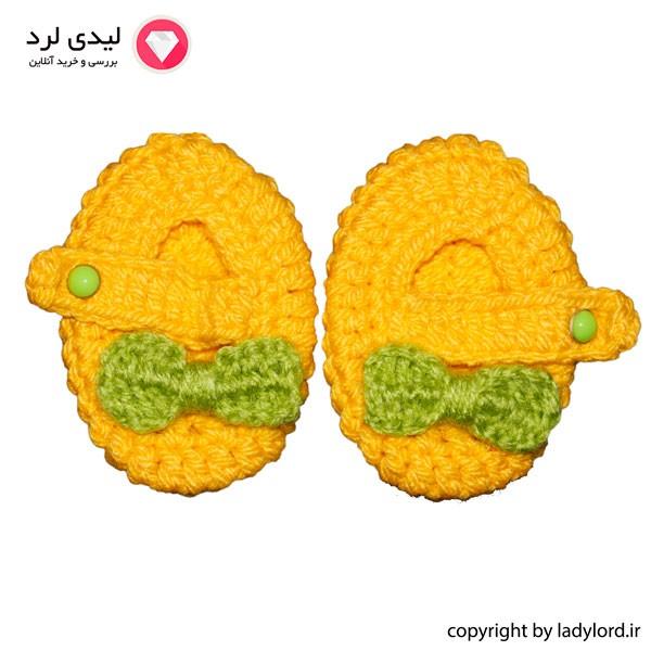پاپوش بافتنی نوزاد دخترانه مناسب 1 تا 1.5 سال رنگ زرد-سبز