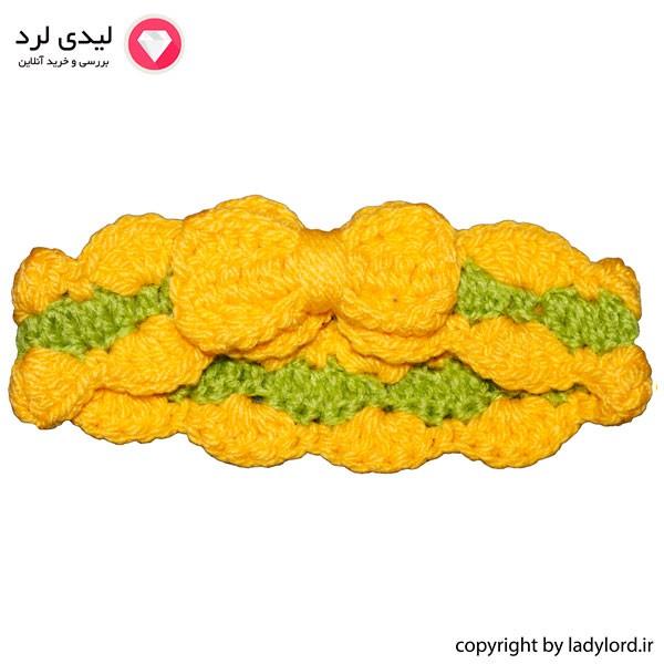 سربند بافتنی نوزاد دخترانه مناسب 1 تا 1.5 سال رنگ زرد-سبز