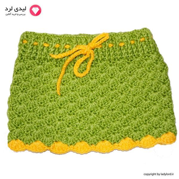 دامن بافتنی نوزاد دخترانه مناسب 1 تا 1.5 سال رنگ سبز-زرد