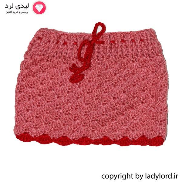 دامن بافتنی نوزاد دخترانه مناسب 1 تا 1.5 سال رنگ صورتی-قرمز