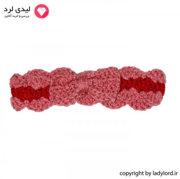 سربند بافتنی نوزاد دخترانه مناسب 1 تا 1.5 سال رنگ صورتی-قرمز