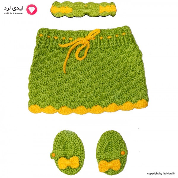 ست لباس بافتنی نوزاد دخترانه مناسب 1 تا 1.5 سال رنگ سبز-زرد