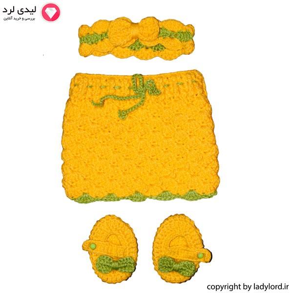 ست لباس بافتنی نوزاد دخترانه مناسب 1 تا 1.5 سال رنگ زرد-سبز