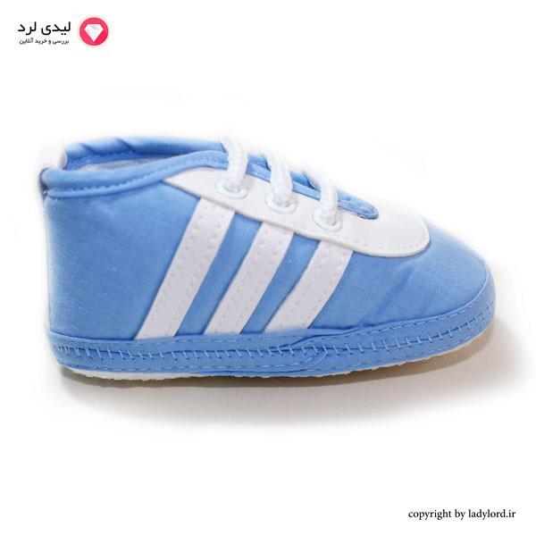 کتانی  bebetto نوزاد رنگ آبی-سفید مناسب نوزاد 6 تا 9 ماه