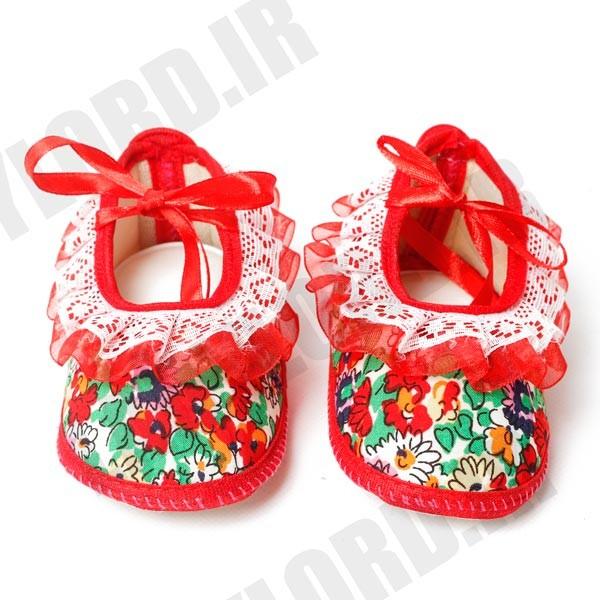 پاپوش سوتی نوزادي دخترانه پوشکا مدل 1030 رنگ قرمز
