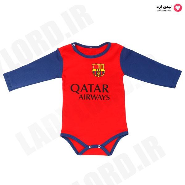 زیردکمه نوزادی  قرمز طرح تیم فوتبال بارسلونا شماره 10 مسی