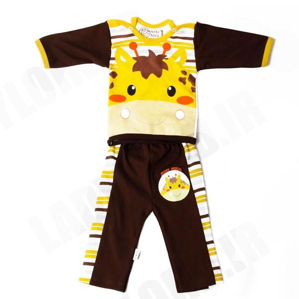 ست لباس نوزادی پسرانه طرح زرافه  رنگ قهوه ای