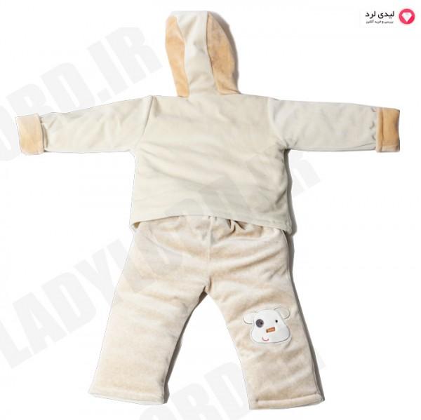 ست کاپشن و شلوار نوزادی پسرانه طرح گاو کرم رنگ مدل 2060