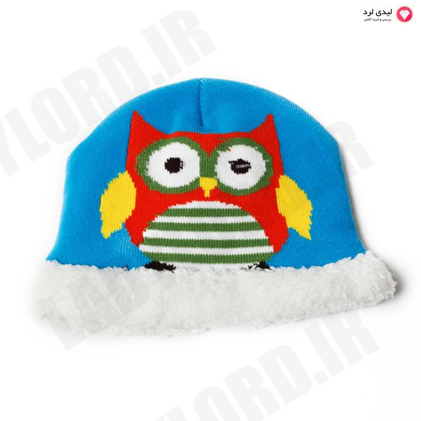 کلاه کودک طرح جغد آبی