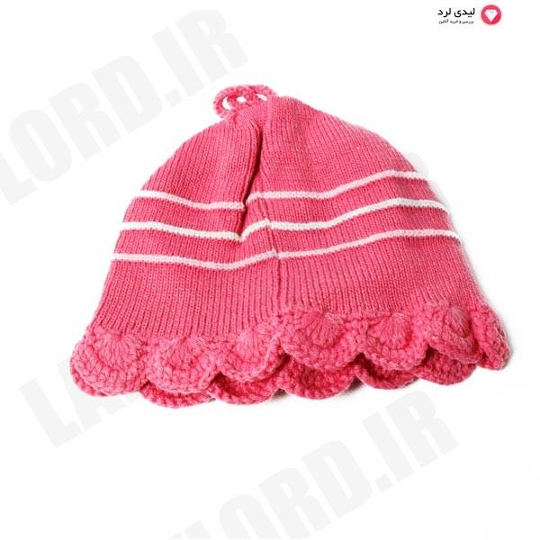 کلاه بافتنی دخترانه رنگ صورتی