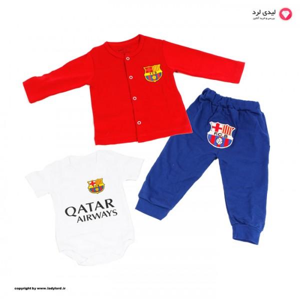 ست سه تکه نوزادی  قرمز طرح تیم فوتبال بارسلونا شماره 10 مسی
